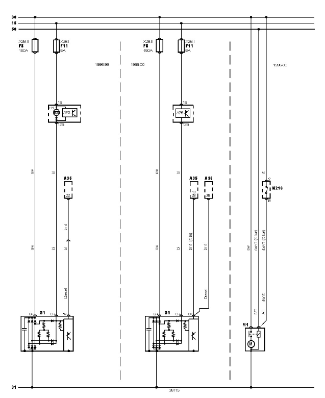schéma et câblage système de charges circuit démarrage audi a3 1.6 l schéma et câblage audi système de charges circuit démarrage 1