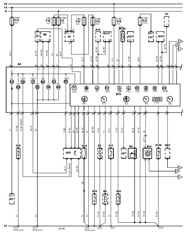 schéma et câblage tableau de bord audi a3 1.6 l schéma et câblage tableau de bord 2