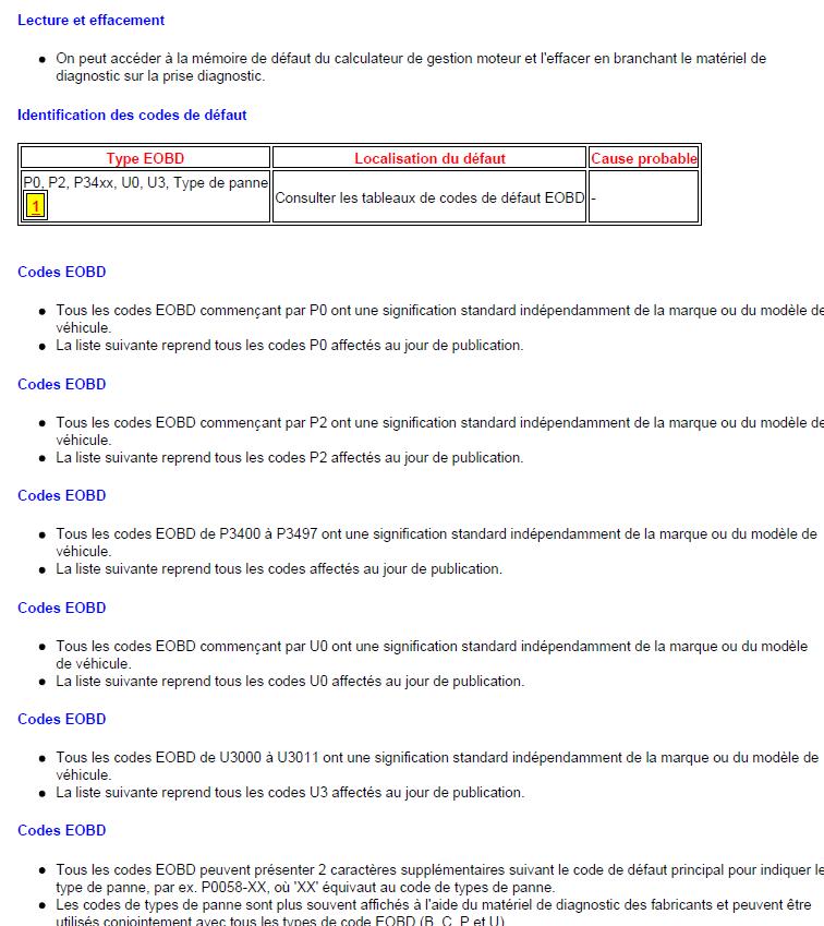 code de défaut de gestion moteur diagnostic renault scénic année 2000 1.4 l identification code renault scénic